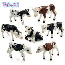 Mini estatueta de brinquedo para agricultura, fazenda, aves, kawaii, leite, vaca, tornozelo, plástico, animal, modelo de estatueta, figuras de brinquedo, decoração de casa, presente crianças
