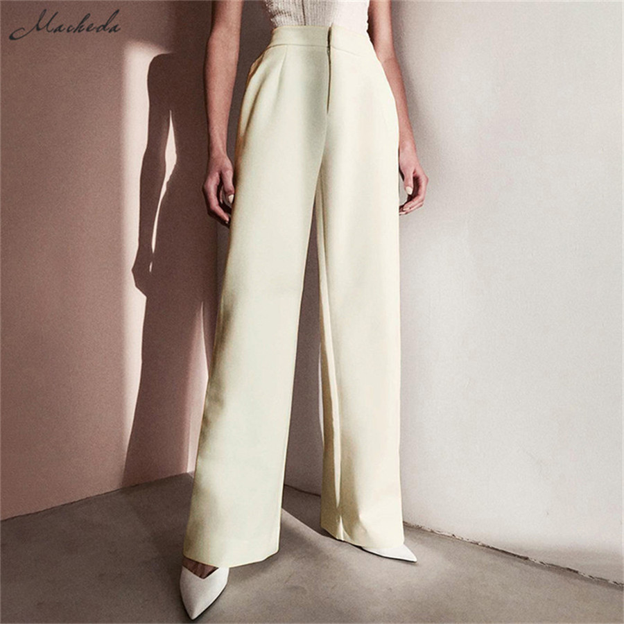 Macheda Summer Autumn Solid Elegant Women's   Wide     Leg     Pants   High Waist Fashion Ladies Casual Loose Long Trousers 2019 New