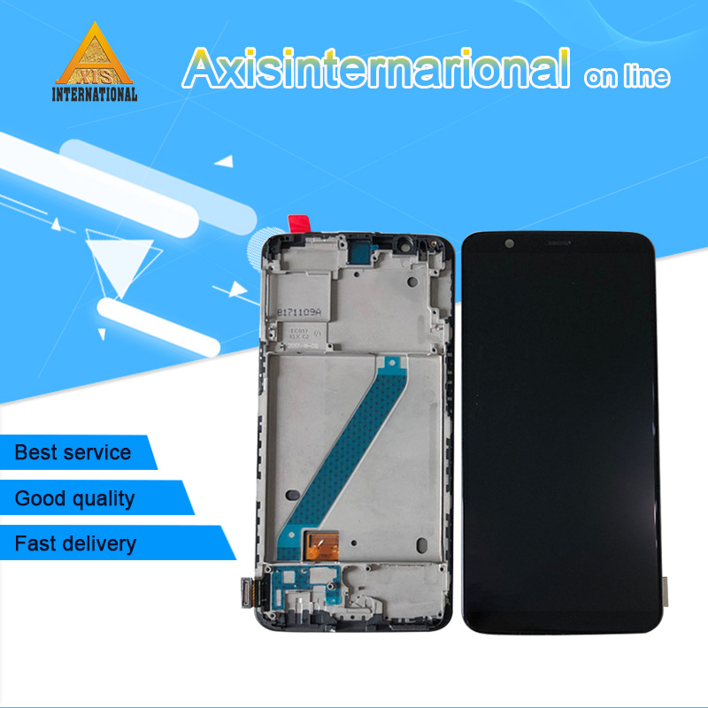 Original Axisinternational For Oneplus 5T 5 LCD Display Screen Touch Digitizer With Frame For OnePlus 5T