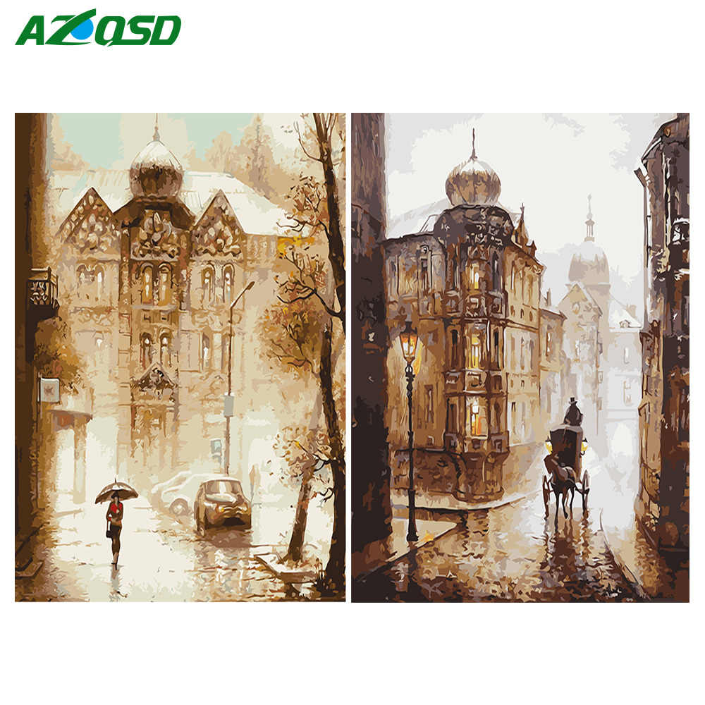 AZQSD Scenery Oil Paint by Number Canvas Painting Poster Classical Posters and Prints Unfinished Living Room Decor DIY Hobby