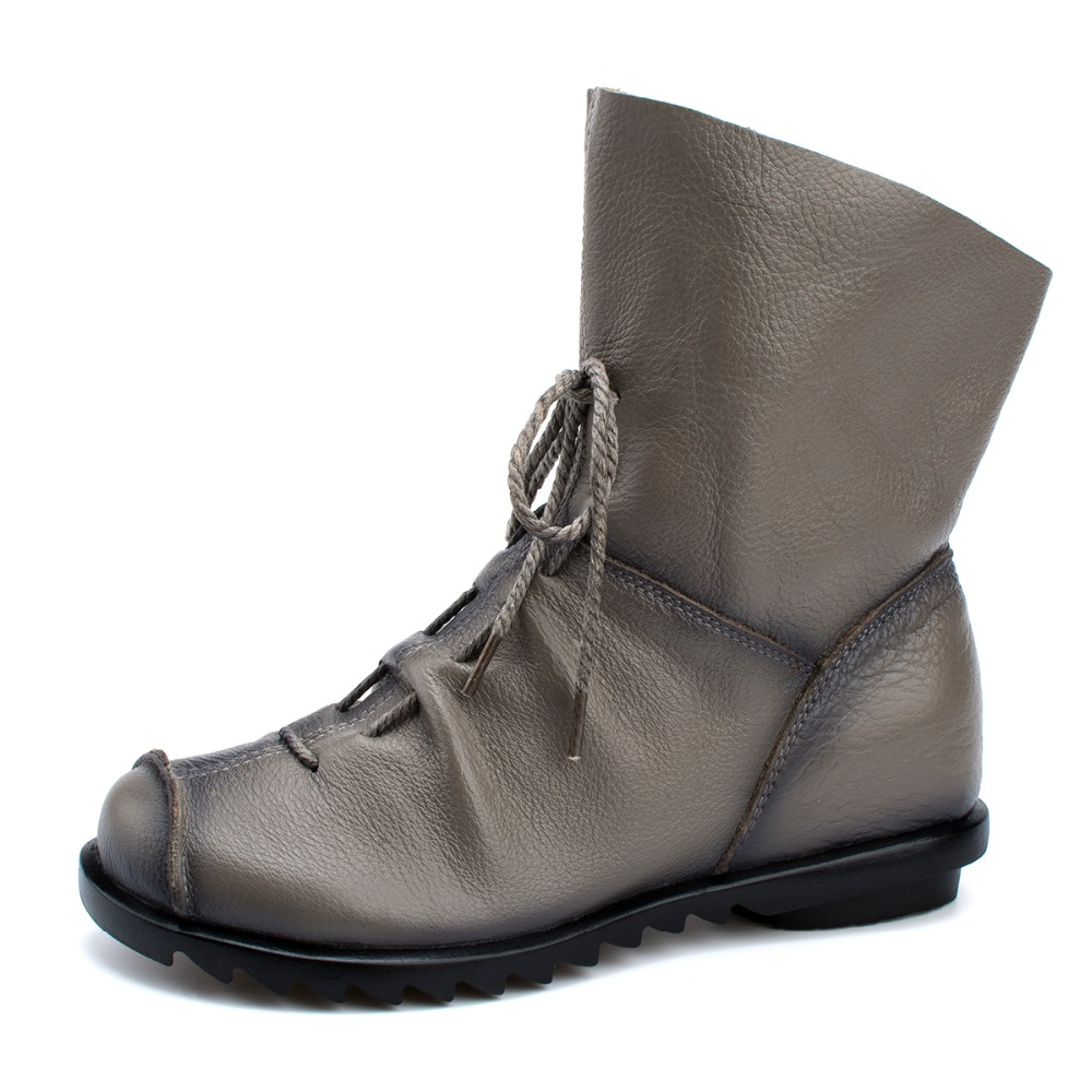 Plus Size Genuine Leather Women Boots Autumn Winter Fashion Pleated Ankle Boots Warm Soft Outdoor Casual