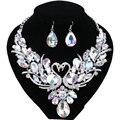 Chapado en Plata de lujo de Cristal Nueva Cadena Declaración Collier Femme Doble Cisne Collar Pendiente Para Las Mujeres Del Partido Joyería de la Boda