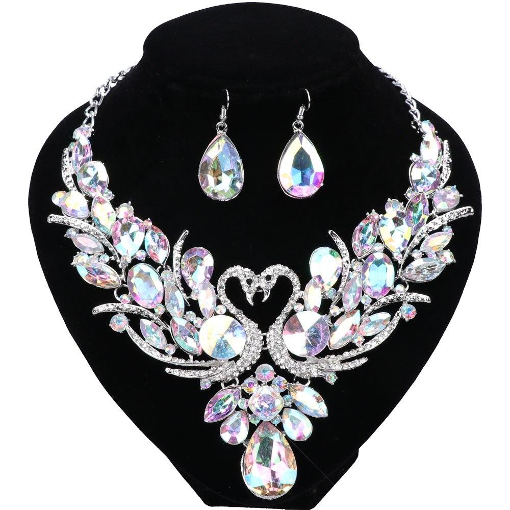 Роскошные Посеребренная Кристалл Новый Collier Femme двойной Лебедь себе цепи Цепочки и ожерелья серьги для Для женщин свадьбу комплект ювелирных изделий