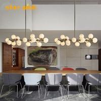 star wish Nordic modern glass pendant lighting clubhouse villa head branch type magic bean molecular glass ball hunging lamp