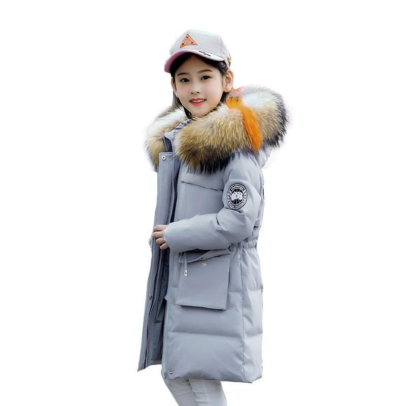 Girl fashion solid color down jacket Girl long thick warm down jacket Girl winter cold coat Children's large fur collar jacket binyuxd women warm winter jacket 2017 fashion women hooded fur collar down cotton coat solid color slim large size female coat