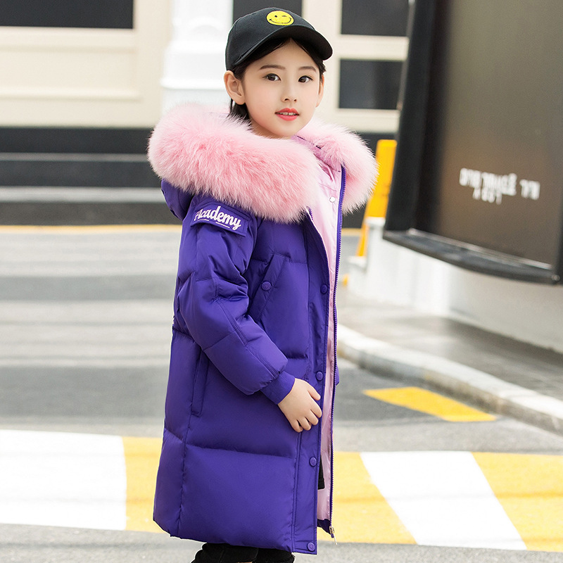 Children's Down Jacket For Girl Warm Thick Hooded Long Kids Outerwear 2018 New Thick Warm Kids Overcoats Parkas Girls Clothing thick warm long 90