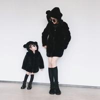 Winter Children Mother Femelle Dress Cute Bear Children Maomao Cotton Coat Cute Rabbit Ear Hooded Baby
