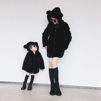 Winter Children Mother Femelle Dress Cute Bear Children Maomao Cotton Coat Cute Rabbit Ear Hooded Baby
