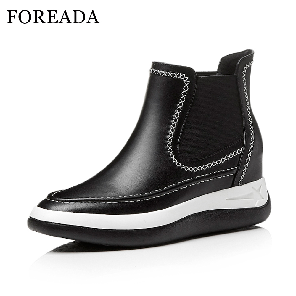 FOREADA Genuine Leather Boots Women Sewing Platform Wedge Chelsea Boots Ankle Boots Autumn Increasing Heel Real Leather Shoes nayiduyun women genuine leather wedge high heel pumps platform creepers round toe slip on casual shoes boots wedge sneakers