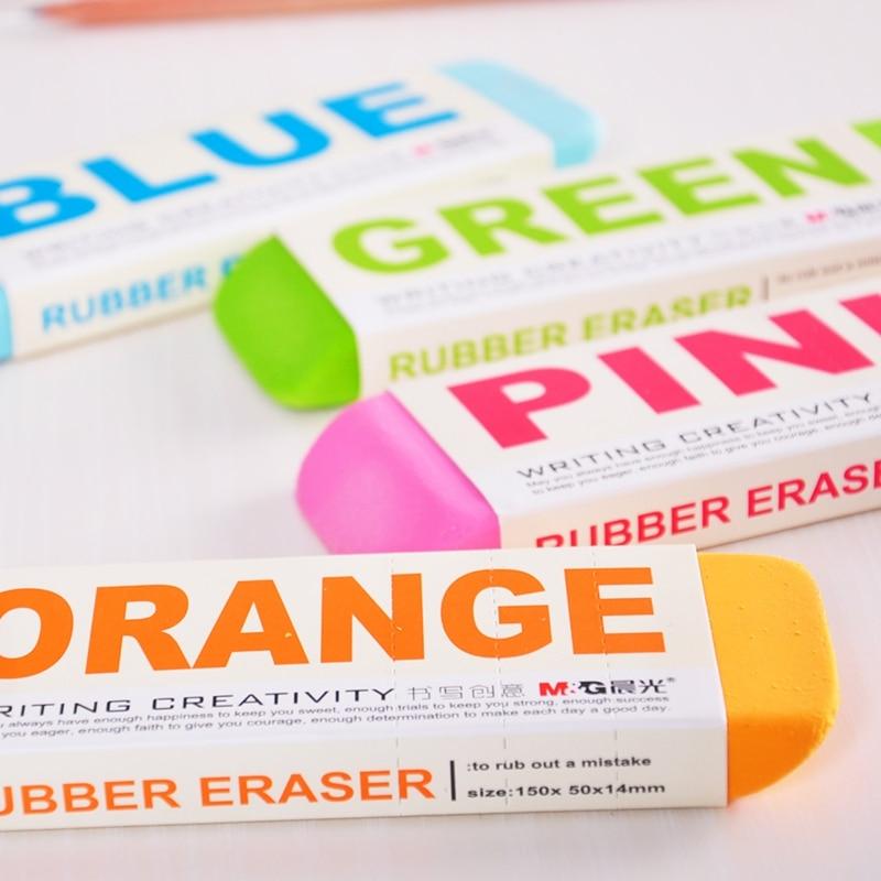 Купить с кэшбэком [M&G] Candy Color Kawaii School Supplies Pencil Rubber Erasers Cute Super Big Eraser 4 Colors Korean Stationery AXP96453