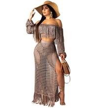 цены на Slash Neck Knit Two Piece Sets Women Tassels Crop Top and Skirt Set Sexy Crochet Beach Wear 2 Piece Summer Outfit  в интернет-магазинах