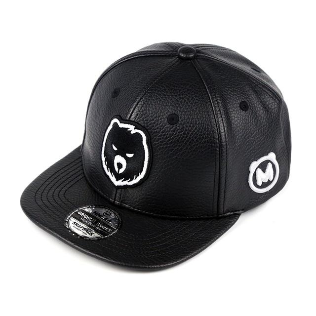 New 2018 Unisex Top Quality Bear Baseball Caps Snapback Gay PU Leather Cap Fashion Fury Bears Hip-Hop Hat Circumference:56-63 cm