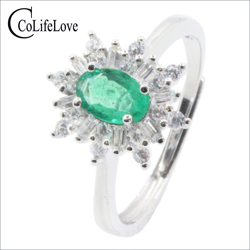 Silver Snowflake Ring For Engagement 4 Mm * 6 Mm 100% Natural Emerald Ring Solid 925 Sterling Silver Emerald Ring