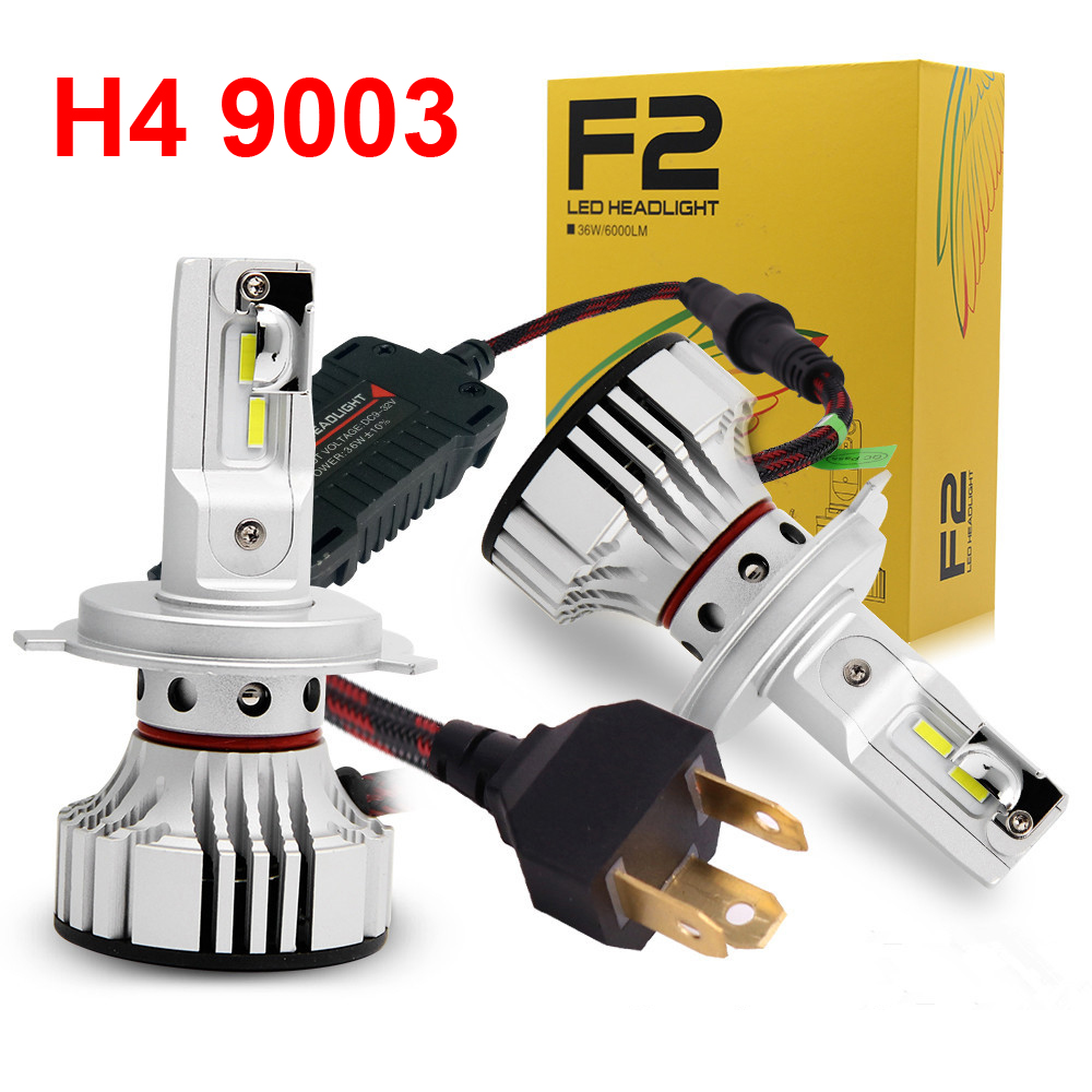 1 Set H4 9003 HB2 F2 LED Headlight Headlamp 72W 12000LM FLIP Chips Turbo Fan 6K