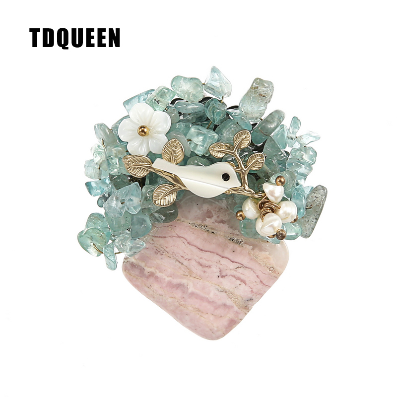 TDQUEEN Brooches Vintage Natural Stone Brooch Antique Gold-color Safety Pin Jewelry Pearl Shell Bird Flower Brooch for Women