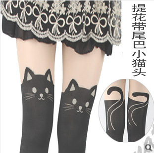 women cute cat Tail kitten Knee High tattoo stockings Pantyhose Tights sexy free shipping