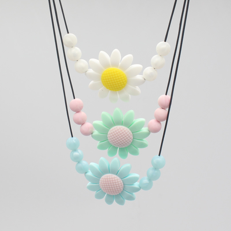 Newborn Silicone Baby Teethers Necklace Kids Soft Toys Flower Children Teething Chewing Shape