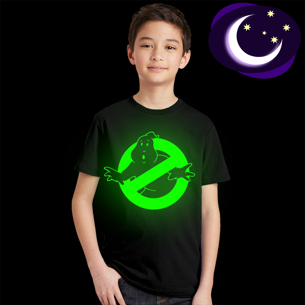 kids streetwear Fluorescent Glow In Dark children tops tees Ghostbusters T-shirt boys girls T Shirts Ghost Busters Tee Shirts knit cold shoulder bottoming t shirts in black