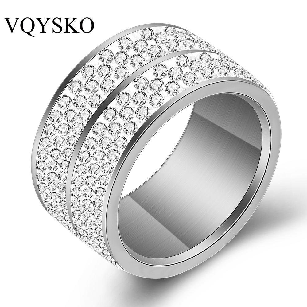 Wholesale  6 Row Crystal Jewelry Wedding Ring For Women High Quality Classic Stainless Steel Accessories Rings Party Jewelry 5