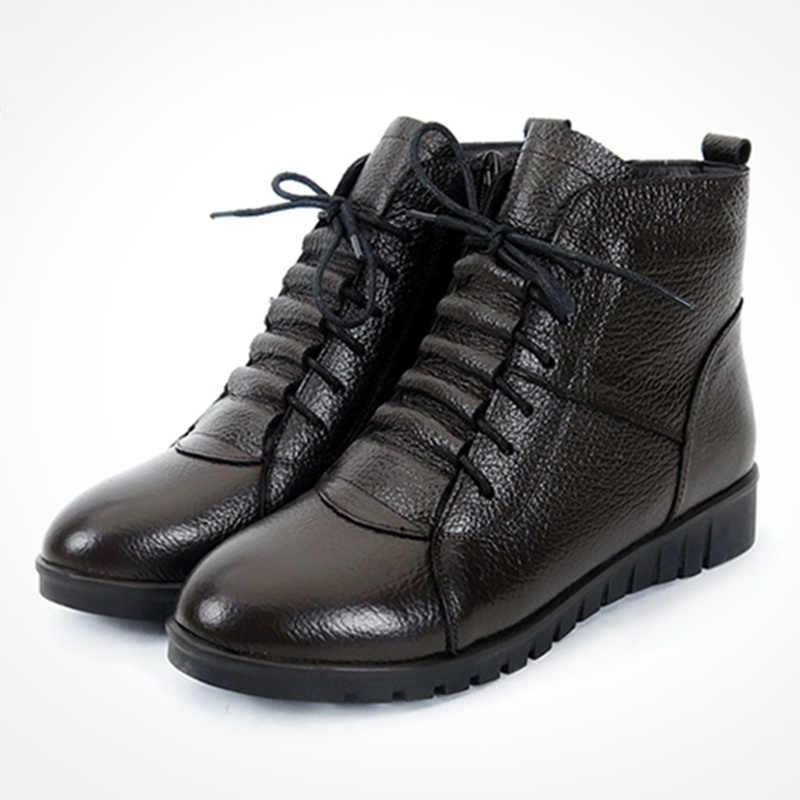 SWYIVY รองเท้าผู้หญิงฤดูหนาวรองเท้าบูทข้อเท้าสำหรับผู้หญิง Snow Boots รองเท้าหนังรองเท้าผ้าใบขนสัตว์สีดำหิมะรองเท้าหญิง booties
