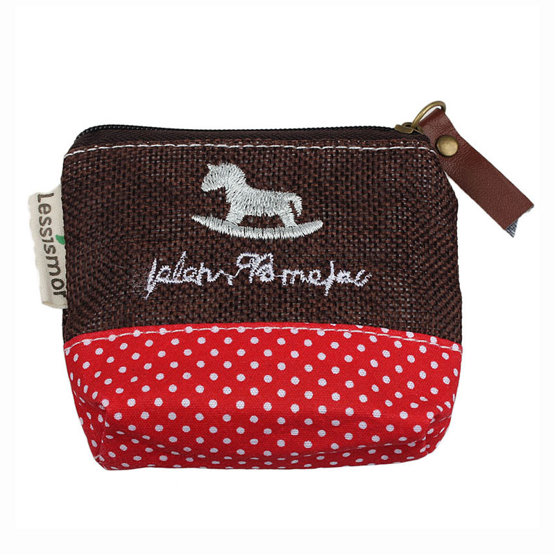 ABDB Dot Small Canvas Purse Zip Wallet Lady Coin Case Bag Handbag Key Holder Horse Red