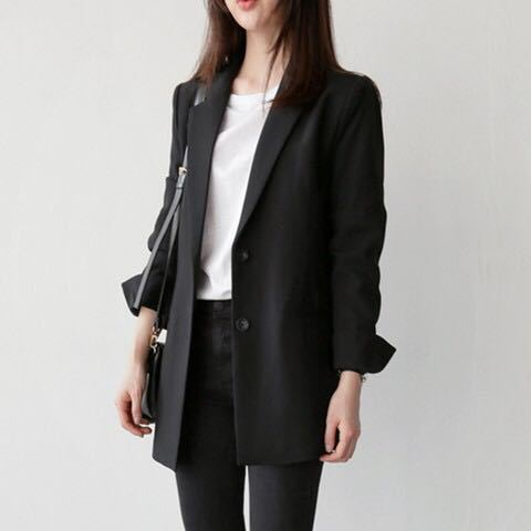 Spring Autumn Womens Casual Long Blazer for Women Black Single Breasted Office Ladies Jackets and Blazers