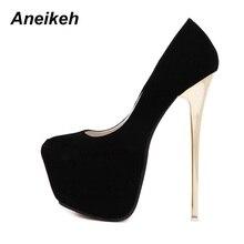 Женские свадебные туфли-лодочки Aneikeh, туфли-лодочки из флока на очень высоком каблуке 16 см, размер 44, 45