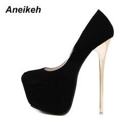 Aneikeh-zapatos de tacón muy alto para mujer, calzado Sexy para boda, fetiche, conciso, para Stripper, aterciopelado, talla 16 cm 44 45