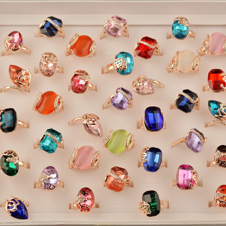 50 Pcs Mixed Colorful Stone Ring Fashion Bohemia Big Rhinestone Crystal Ring Women Boho Geometric Wedding