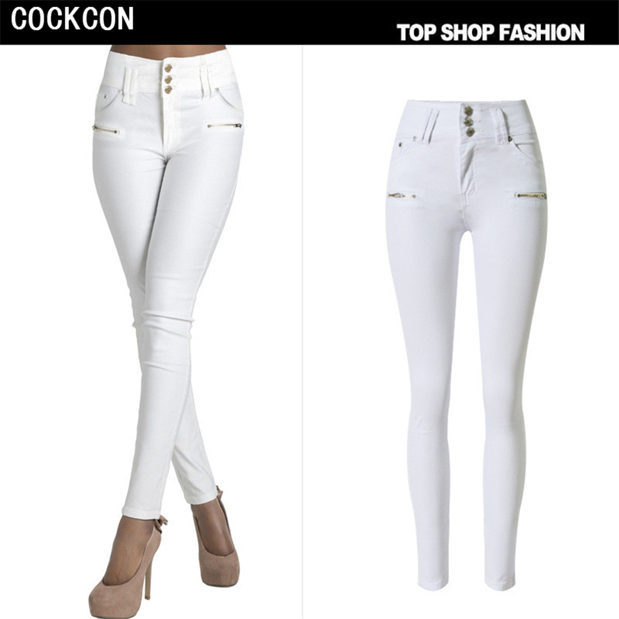COCKCON Women s high waist jeans skinny elastic denim pencil pants Plus large size three buttons