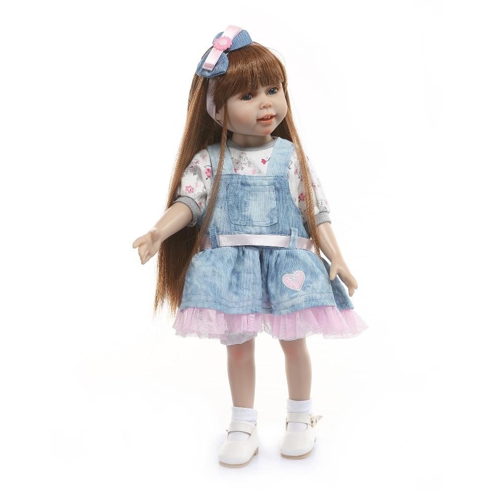 18 pouces americal filles poupée 45 cm pleine silicone corps fille princesse longue kanekalon cheveux posable belle poupée