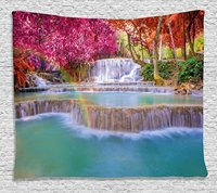 Decor Tapestry, Rain Forest in Vietnam Laos with Asian Pink and Orange Trees side of River Image, Wall Hanging Tapestry