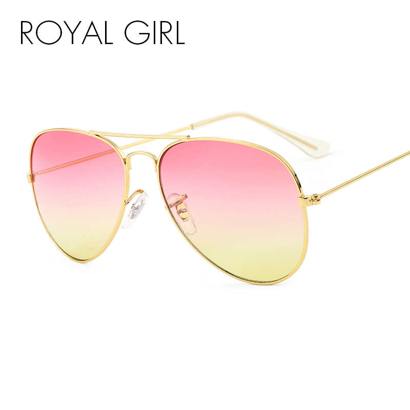 e15a5671821 ROYAL GIRL Brand Designer Women Sunglasses Pilot Sun glasses Sea gradient  shades Men Fashion glasses ss065