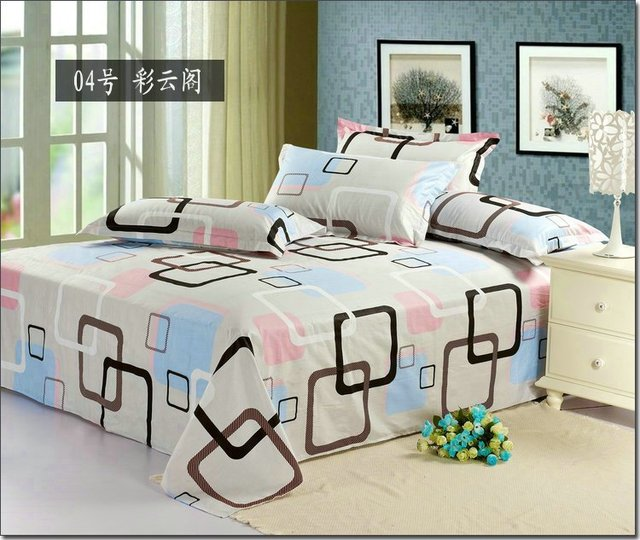 1pcs Hot Modern Design Printed Bed Sheets Queen Size 100 Cotton Twill Bedding Homt
