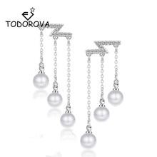Todorova Fashion Jewelry Temperament Elegant Zircon Long Tassel Earrings for Women Female Simulated Pearl Pendant