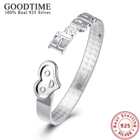 Real Solid 925 Sterling Silver Heart Bracelets Bangles For Women Happy Letter Open Cuft Bangles Ladies