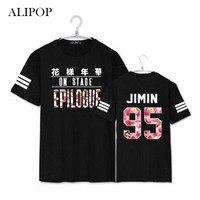 Youpop KPOP BTS GENÇ SONSUZA EPILOGUE Gömlek 2016 K-POP Sıcak Satış Klasik Siyah Beyaz Katı Pamuk Kısa Kollu T-Shirt DX249