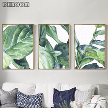 Watercolor Monstera Leaves Wall Art Canvas Painting Green Plant Tropical Posters and Prints Decorative Picture Home Decoration