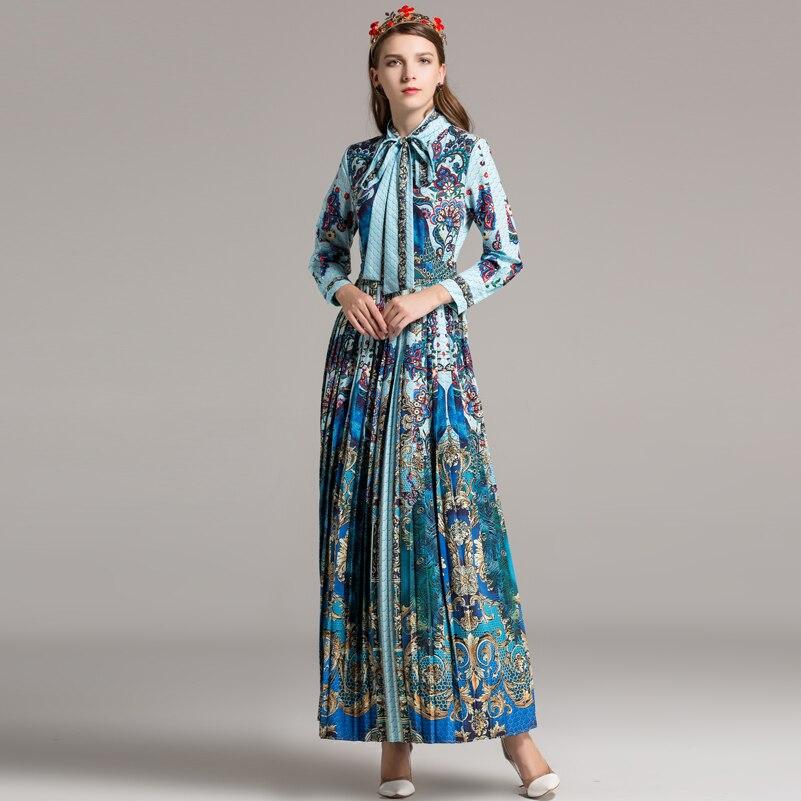 Longues Manches Maxi Longue Qualité 2018 Rétro Robe Arc Col Affiches Vintage Haute Nouveau De Designer Plissée Multi Femmes Piste bfY7I6gyv
