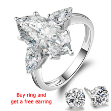 QYI 925 Silver Ring for Women Engagement rings 4.5 ct Marquise cut Superior grade zircon White Gold Color