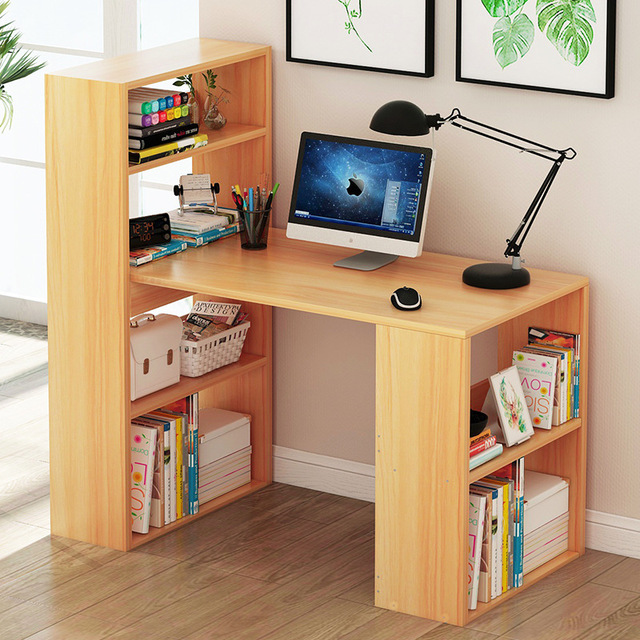 Lk632 Home Notebook Computer Desk Simple Wooden Laptop Table Multi Layer Bookcase Office Multifunction