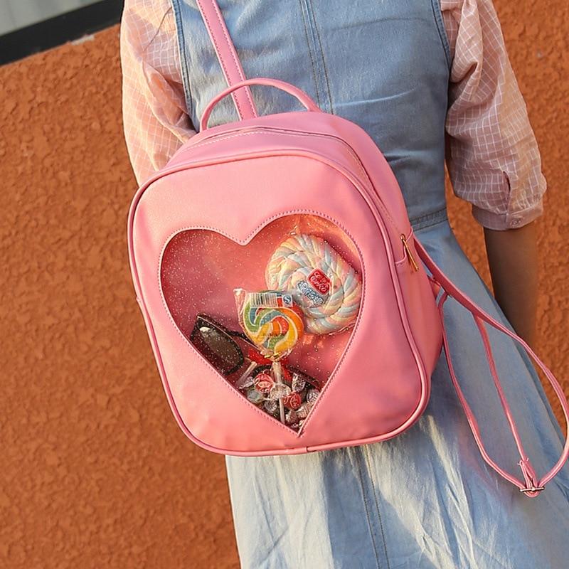 여성 배낭 DIY 귀여운 투명 사랑 하트 모양 배낭 - 백팩