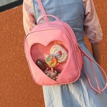 Kvinnor Ryggsäck DIY Söt Transparent Kärlek Hjärta Form Ryggsäckar Harajuku Skolväskor Ryggsäckar För Tonårsflickor Härlig Ita Väska