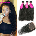 Virgin Malaysian Curly Hair With Closure 4 Bundles Malaysian Kinky Curly Virgin Hair Closure Curly Weave Human Hair With Closure
