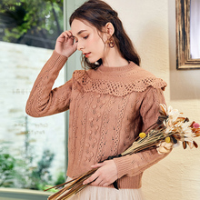 ARTKA 2019 Autumn New Women Long Sleeve Pullover Sweater Solid Color O-Neck Sweater Vintage Ruffled Knit Sweater YB15183Q