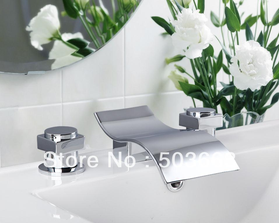 Fashion Design Waterfall Bathroom Bathtub Basin Brass Ceramic Chrome Sink Mixer Double Handles Deck Mounted Tap Faucet MF-326 fashion design goose neck brass robinet bathroom basin tap faucet
