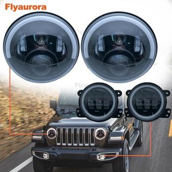 "7Inch LED Headlamps with Halo Ring Amber Turn Signal For lada niva 4x4 suzuki samurai 4"" LED DRL Halo foglights For VAZ 2101"