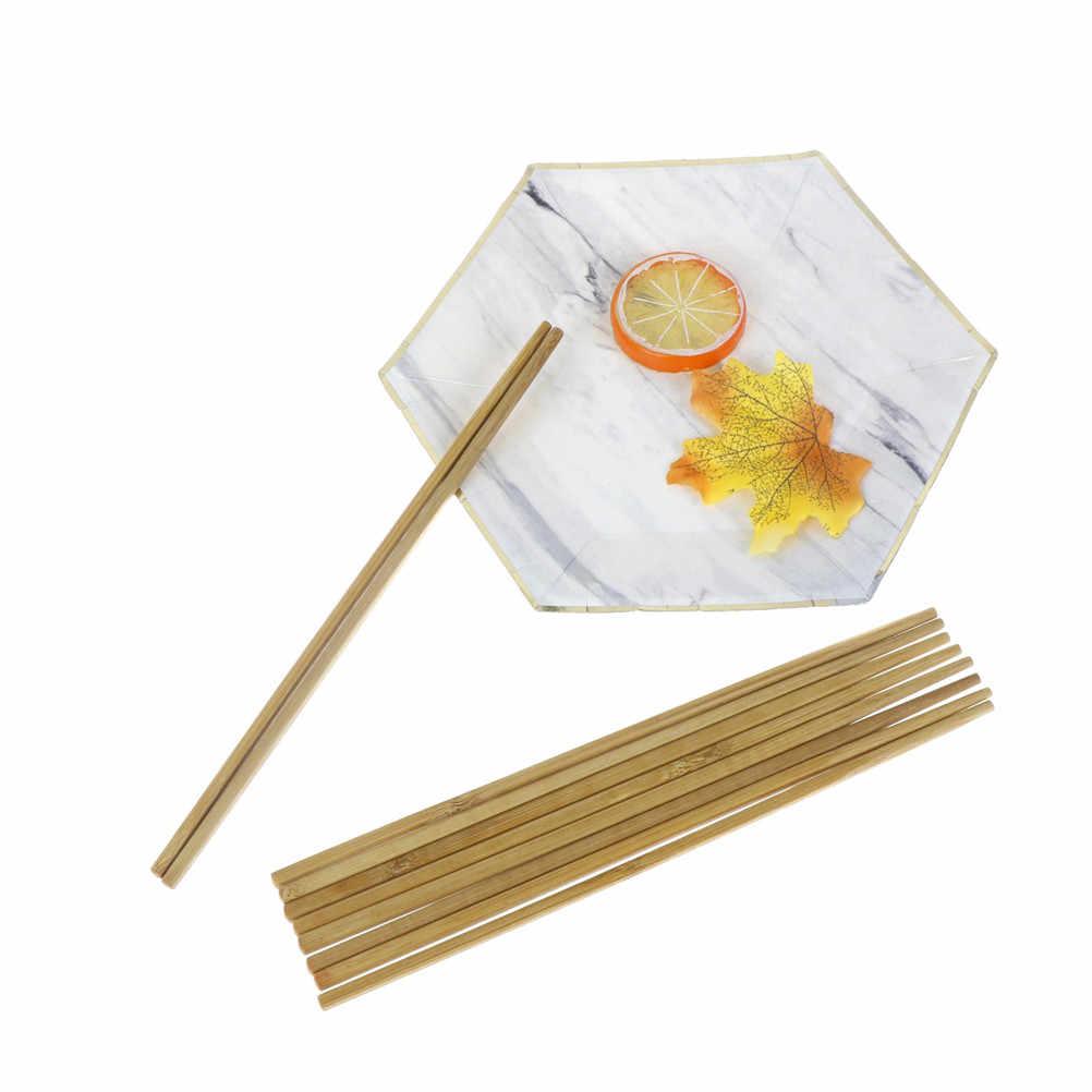 5 Pairs Natuurlijke Houten Bamboe Eetstokjes Servies Gezondheid Zonder Lak Wax Servies Chinese Kichen Gereedschap