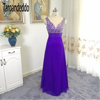 V Neck AB Colorful Beading A Line Purple Bridesmaid Dress Long Cheap Party Dress Under 100
