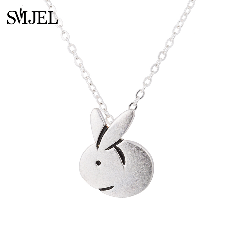 SMJEL Animal Rabbit Necklace Easter Basket Pet Bunny Pendant Charm Fashion Jewelry For Women Men Easter gifts SYXL129